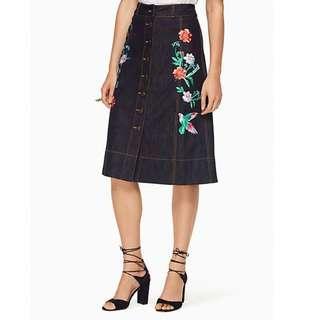 Kate spade embroidered denim skirt (midi)
