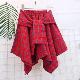 PO Checkered Uneven Hip Wrap or Skirt