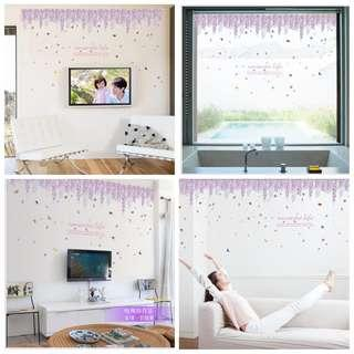 🎉New Arrival Romantic Wisteria Rose Wall Sticker Bedroom Living Room Entrance Hall Corner Kicking Lines Wall Stickers Removable Decorative Stickers ⭕SIZE W165*H55cm