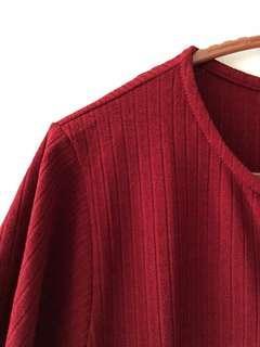 BN Maroon Ribbed Stripes Textured Shirt