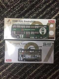 Tiny 97 98 KMB ADL Enviro500 + Tram/ Tramways & KMB Livery / 巴士 電車 套裝 / 九巴 叮叮 968 5號跑馬地