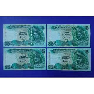 JanJun $5 7th A Combo Printer TDLR & CB 4pcs Rm5 Banknote