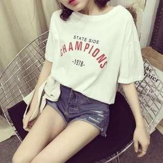 Korean Champion Text Shirt