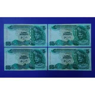 JanJun $5 7th B Combo Printer TDLR & CB 4pcs Rm5 Banknote