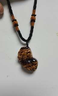 Natural golden tiger eye stone. To avoid evil pendant.