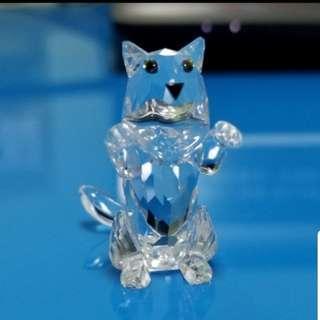 Swarovski 水晶擺設 功夫猫