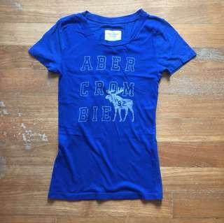 BN A&F women's blue logo slim fit tee shirt