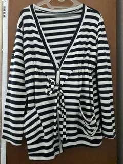 Strip Long jacket / sweater / cardigan (jaket panjang garis garis)