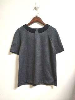 🚚 全新 NET 女黑灰色千鳥紋毛料短袖上衣 M號 6碼