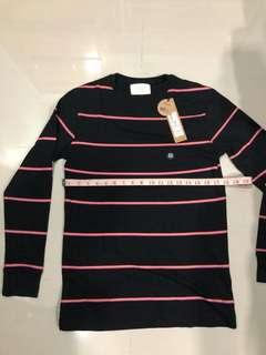 Cotton On Long Sleeve Stripe Tee Shirt Black