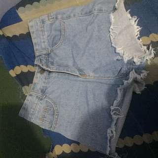 highwaisted maong shorts