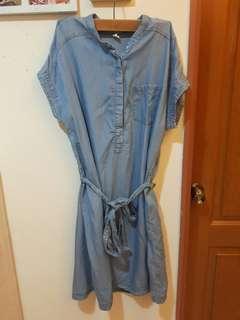 🚚 原價690~9成新#牛仔色休閒綁帶薄洋裝