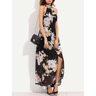 Floral Halter Neck Dress With Slit