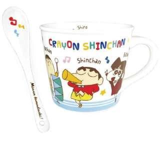 🚚 正版授權 日本 蠟筆小新 CRAYON SHIN-CHAN 野原新之助 小新 馬克杯 陶瓷杯 單耳杯 咖啡杯 水杯 杯子 附陶瓷湯匙