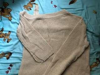 露膊開叉杏色針織連衣裙