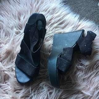 Black Faux Suede Gladiator Platform Heels   Size 37