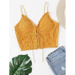 Eyelet Lace Up Bustier (Yellow)