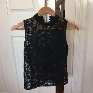 Bardot black lace top