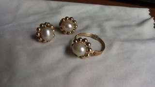 10k Gold Ring and Earrings Set with Real Cultured Pearl