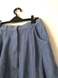 🚚 水洗牛仔布淺藍色五分褲裙 森林系女孩 九成新