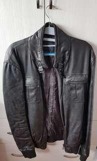 Zara Man Black Leather Jacket (US size L)