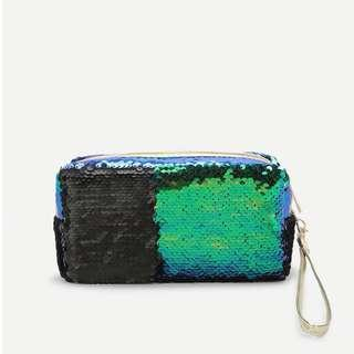Sequin Make Up Bag With Wristlet (Green)