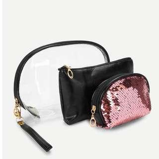 Sequin Make Up Bag (Set of 3)