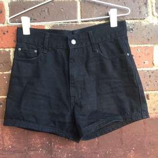 Black Denim Shorts M