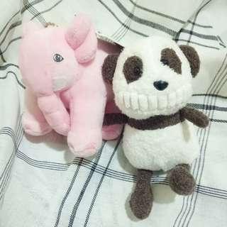 🚚 大牙吊飾 熊貓 附贈粉紅大象