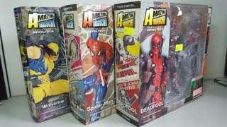 (Set of 3) Kaiyodo Revoltech Amazing Yamaguchi series 001 002 005 Deadpool Spider-man Wolverine - not Marvel Legends action figure
