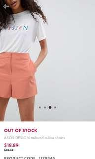 🚚 BNWOT ASOS DESIGN A-line tailored shorts