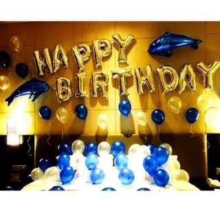 🚚 (In Stock)Dolphin Theme Birthday Party Decoration Set