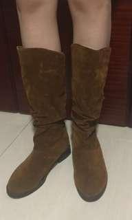 韓國 啡色 長靴 korea brown boots