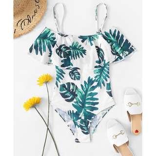 Tropical Print Ruffle Spaghetti Bodysuit