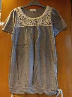 Heather grey knitted long tee/dress with crochet