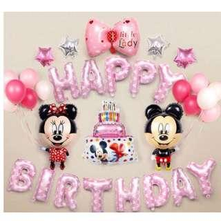 🚚 (In Stock)Pink Mickey Mouse Birthday Party Decoration Set