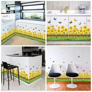 🎉New Arrival Garden sunflower fence living room bedroom porch baseboard decorative wall self-adhesive paper flower butterfly stickers ⭕SIZE W95*H42cm