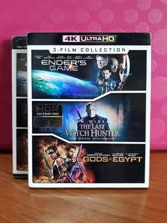USA Blu Ray 4K UHD - Ender's Game / Last Witch Hunter / Gods of Eygpt (3 UHDs, all movies in either ATMOS or DTS-X)