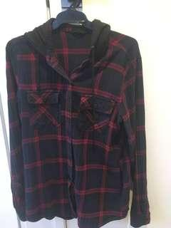 Flannel jumper with hood