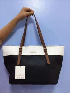 NEW original Calvin Klein black and white leather handbag