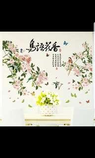 🎉New Arrival Bird flower wall stickers living room bedroom TV sofa background wall decorations stickers