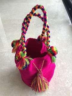Fuschia Handicraft Tote Bag