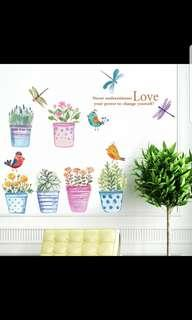 ✔INSTOCK Flower and bird potted wall stickers living room bedroom porch glass wall stickers garden plants floral wall decorations