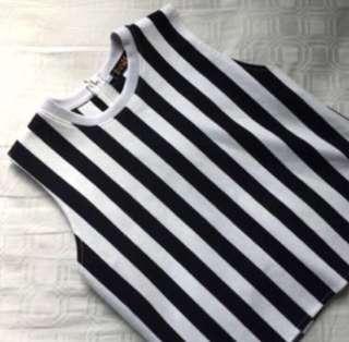 black white striped crop top