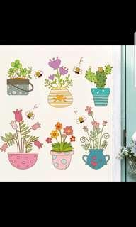 ✔INSTOCK Beautiful flower garden potted wall stickers garden living room bedroom window kindergarten garden flower pot wall stickers decoration
