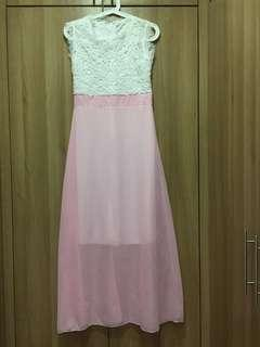 NEW Aria - Summer Lace white/baby pink dress