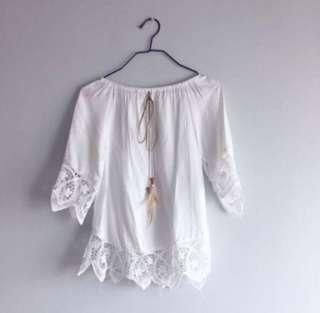BN white lace crochet off shoulder top