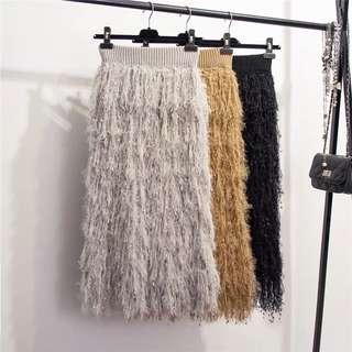 (More cols) Faux towelette textured midi Skirt