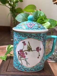 绿花鸟盖杯