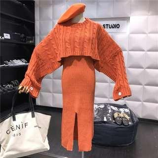 🔱 (More cols) 2 pc crop woven twill knit cape like jumper and Dress set